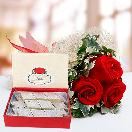 Red Roses Bouquet and Kaju Katli Combo: Anniversary Flowers & Sweets