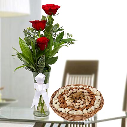 Red Roses Vase Arrangement and Dry Fruits Combo: Birthday Flowers & Dry Fruits