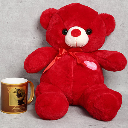 Red Teddy Bear and Personalised Anniversary Mug Gift Set: Anniversary Mugs