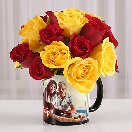 Red Yellow Roses in Personalised Mug: Father's Day Gifts