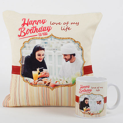 Romantic Personalized Mug N Cushion Birthday Gifts