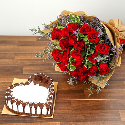 Rose Bouquet and Chocolate Cake Combo: Valentines Day Flowers to Abu Dhabi