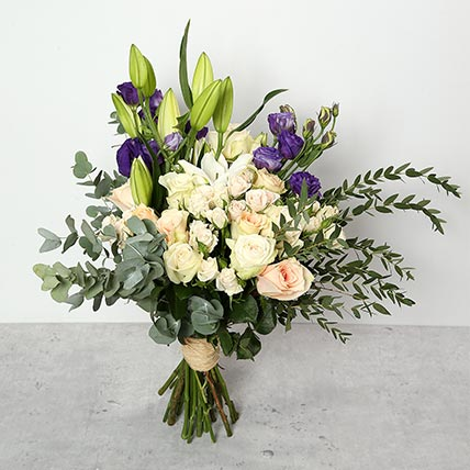 Roses and Lillies Bouquet: New Year Flowers