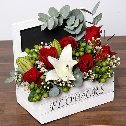 Roses and Oriental Lilies Flower Arrangement: One Hour Delivery Gifts