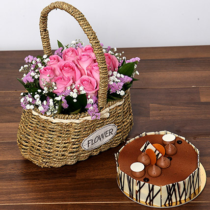 Soft Pink Roses Basket and Cake Combo: Flowers & Cakes