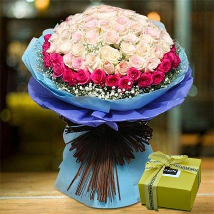 Splendid Roses Bouquet and Patchi Chocolate Combo: Chocolate Day Gifts