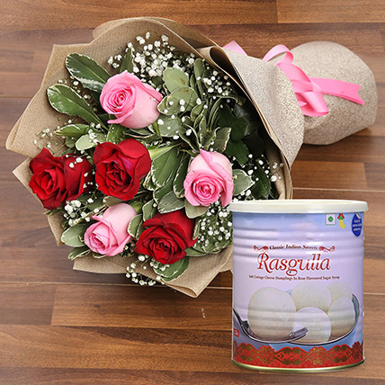 Splendid Roses Bouquet and Rasgulla Combo:  Sweets Delivery