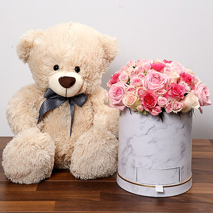 Stylish Box Of Pink Roses With Chocolates and Teddy: Valentines Day Flowers & Chocolates