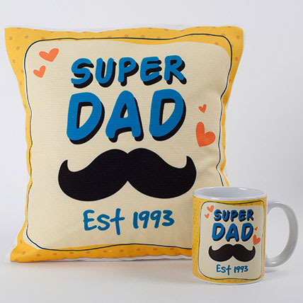 Super Dad Cushion And Mug Combo: Personalised Gifts for Father