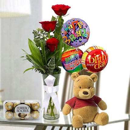 Stunning Delight: Flowers and Teddy Bears