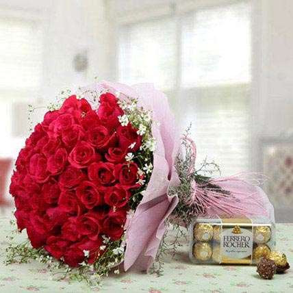 Elegant Combo For U: Flowers and Chocolates for Rose Day