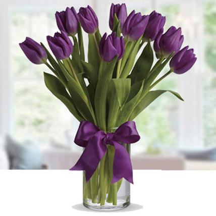 Purple Tulip Arrangement: Friendship Day Flowers for Friend
