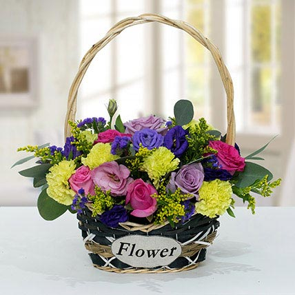 Vibrant Flower Basket: Anniversary Basket Arrangements