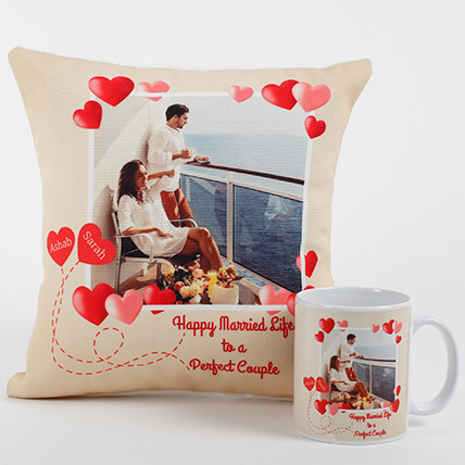 Perfect Love Personalized Combo: Personalised Anniversary Cushions