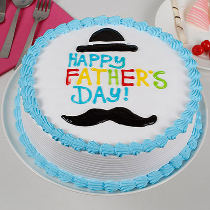 Hat And Moustache Cream Cake: Fathers Day Gifts