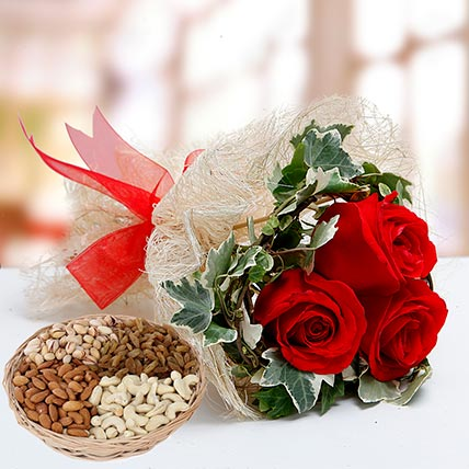 Velvety Rose Bouquet and Dry Fruits Combo: Karwa Chauth Flowers and Dry Fruits