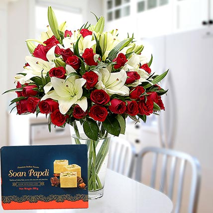 Floral Vase Arrangement and Soan Papdi Combo: Flowers & Sweets