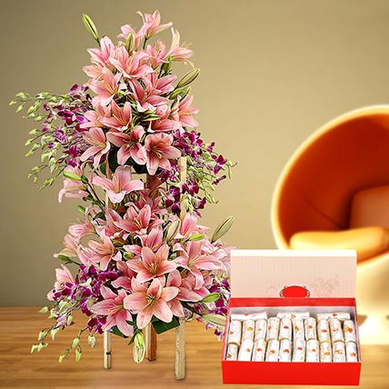 Appealing Flowers Arrangement and Kaju Roll Combo: Birthday Flowers With Sweets