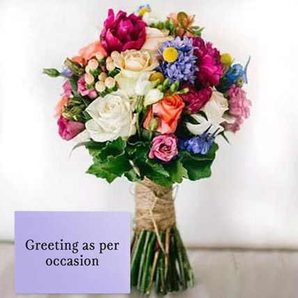 Mixed Roses Bouquet With Greeting Card: Fathers Day Flowers & Greeting Cards