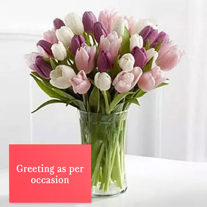 Tulips Vase Arrangement With Greeting Card: Flowers With Greeting Cards