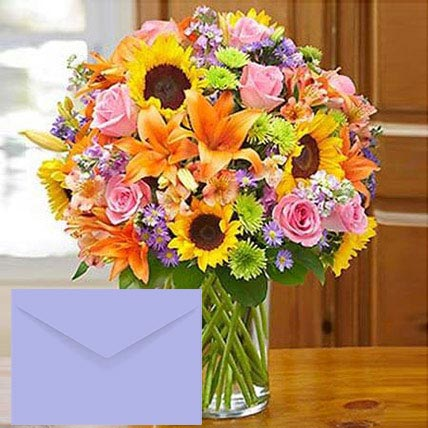 Mixed Flowers Vase Arrangement With Greeting Card:  Sunflower Bouquets