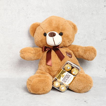 Light Brown Teddy Bear and Ferrero Rocher Chocolate Box: Teddy Day Gifts