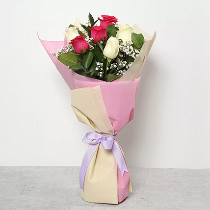 Pink and White Roses Bouquet: Mothers Day Flowers