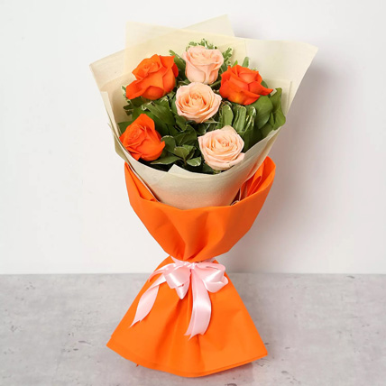 Orange and Peach Roses Bouquet: Farewell Gifts