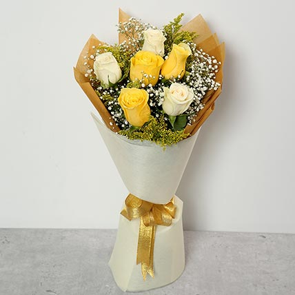 White and Yellow Roses Bouquet: Graduation Flowers