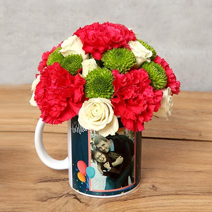 Carnations and Roses in Birthday Mug: Personalised Mugs