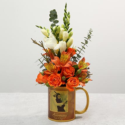 Personalised Anniversary Mug with Orange Rose Flower Arrangement: