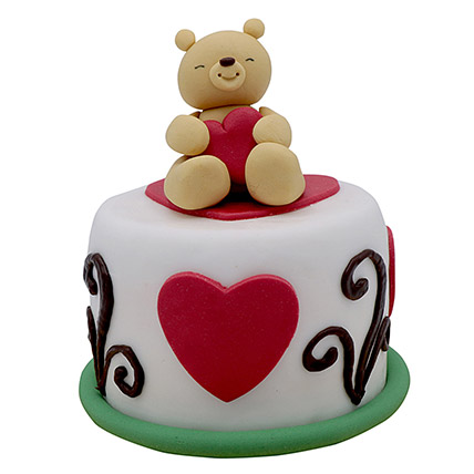 Teddy Cake For Valentines Day: Valentine Cakes to Abu Dhabi