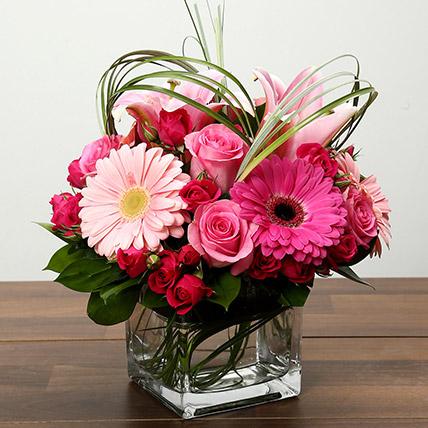 Roses and Gerbera Arrangement In Glass Vase: Birthday Flowers for Girlfriend