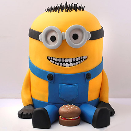 Lovable Minion With A Burger Cake 3 Kg: 3D Cakes