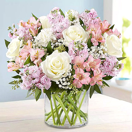 Pink and White Floral Bunch In Glass Vase: Carnation Flower