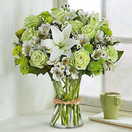 Bunch Of Green and White Flowers: Lilies Bouquet