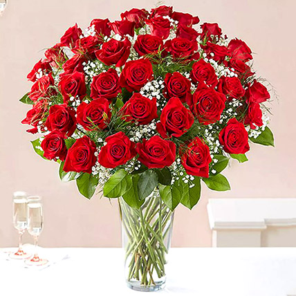 Bunch of 50 Scarlet Red Roses: Anniversary Flower Arrangements