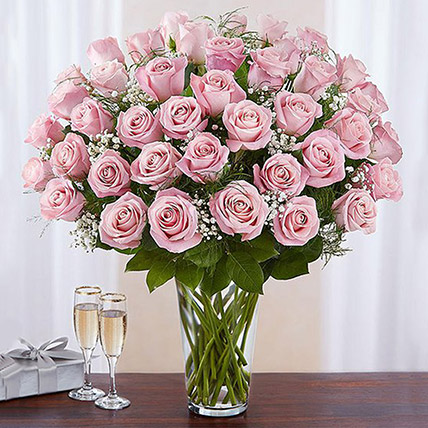 Bunch of 50 Gorgeous Pink Roses: Roses Delivery
