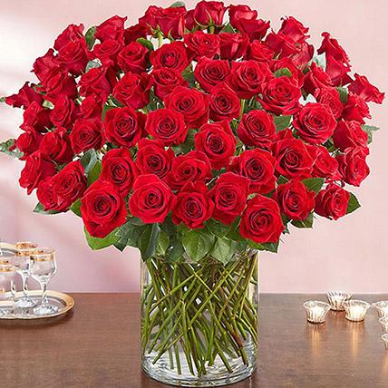 Ravishing 100 Red Roses In Glass Vase: Premium Flowers