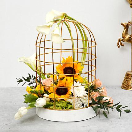 Mix Flowers Cage Arrangement:  Sunflower Bouquets