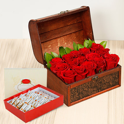 Red Roses Treasured Box With Kaju Roll: Bhai Dooj Sweets