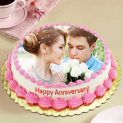 Delicious Anniversary Photo Cake: Anniversary Eggless Cakes