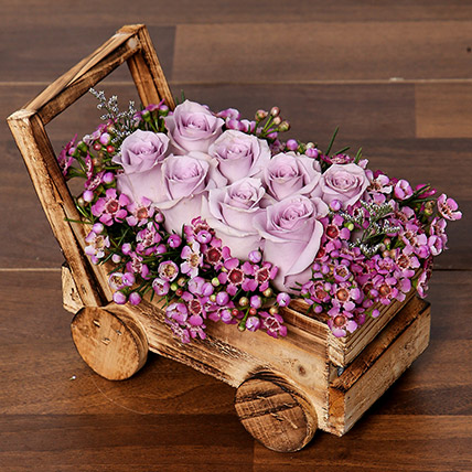 Elegant Purple Roses Arrangement: