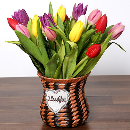Quaint Mixed Tulips Basket: I Am Sorry Flowers