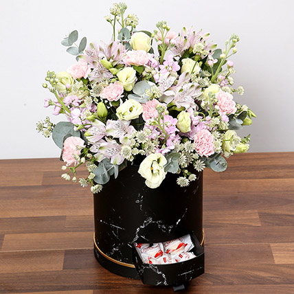 Pink and White Floral Box With Chocolates: Carnation Flowers