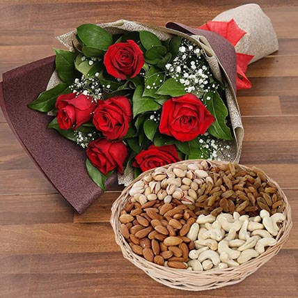6 Red Roses Bouquet With Dry Fruits: Anniversary Flowers and Dry Fruits
