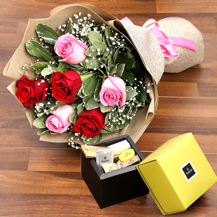 Mixed Roses Bouquet and Patchi Chocolate Combo: Send Chocolates in Ras Al Khaimah