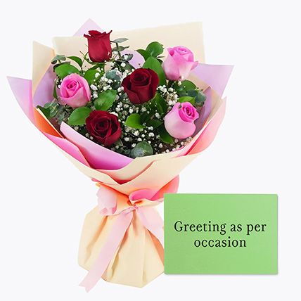 Attractive Roses Bouquet With Greeting Card: Karwa Chauth Flowers and Greeting Cards