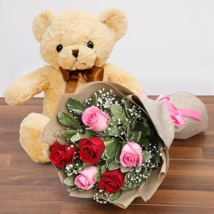 Charming Roses and Teddy Combo: Rose Day Flowers & Teddy Bears