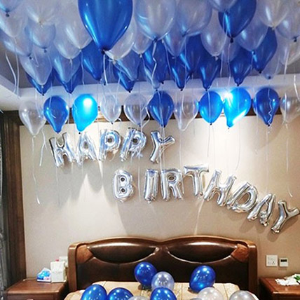 Happy Birthday Blue and Silver Balloon Decor: Birthday Gifts for Husband